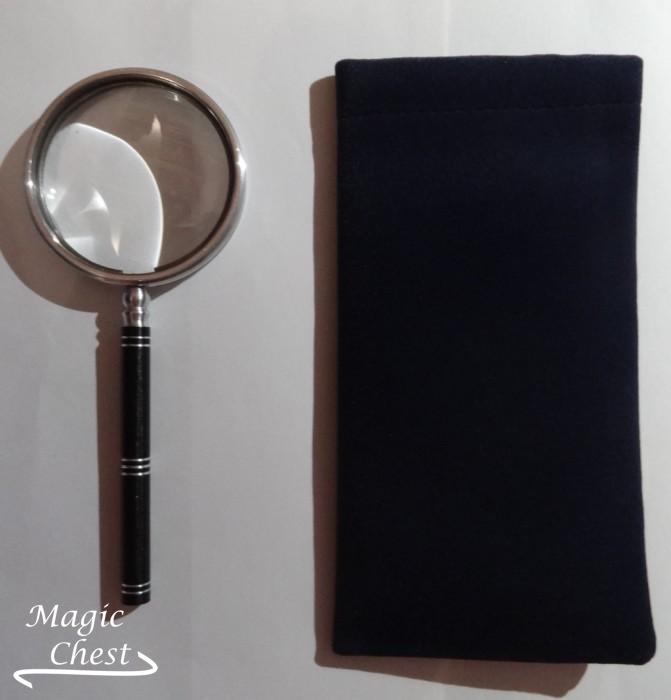 Лупа 5х58мм. Пластмассовая ручка черного цвета, белый металл Россия