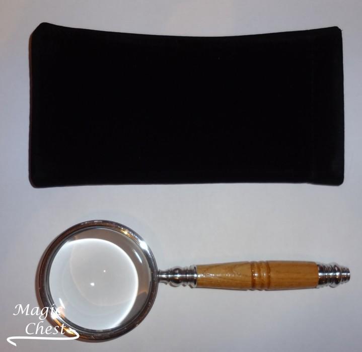 Лупа 6х60мм. Светлая деревянная ручка, белый металл Россия