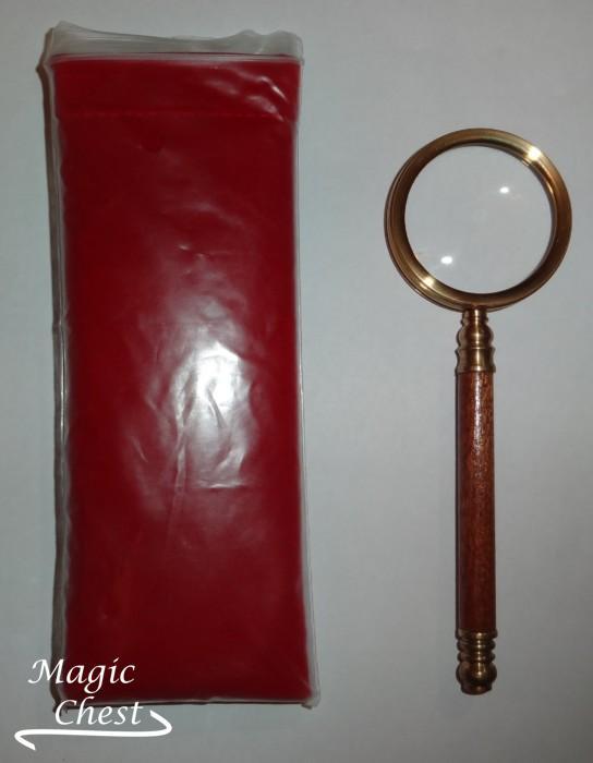 Лупа 5х48мм. Деревянная ручка, латунь Россия