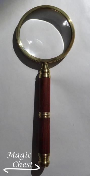 Лупа 4х80мм. Деревянная красная ручка, латунь Россия